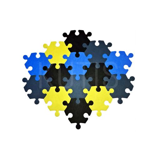 Stūrainais - Tirkīzs/pelēks/dzeltens